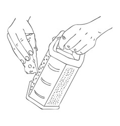 cooking hand with cheese and grater vector image vector image