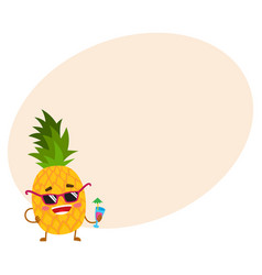cute and funny pineapple character in sunglasses vector image
