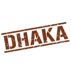 Dhaka brown square stamp vector