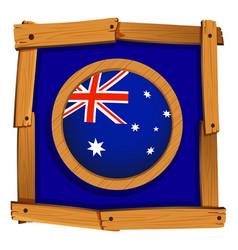 Flag of australia in wooden frame vector