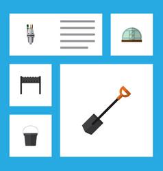 Flat icon garden set of pump spade barbecue and vector