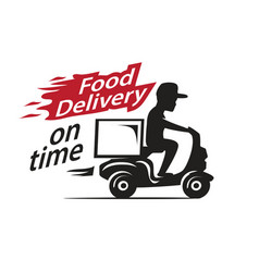 Food delivery motorcycle vector
