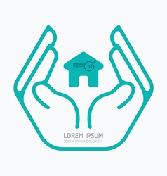 Hand holding house flat logo design safety vector
