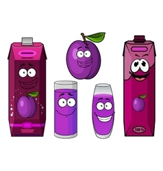 Happy fresh plum juice characters vector