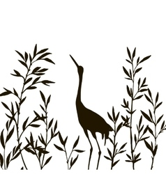 heron in thicket of bamboo branches with leaves vector image vector image