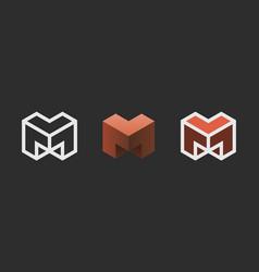 hexagon logo design creative emblem template vector image