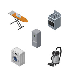 isometric electronics set of cloth iron vac vector image vector image