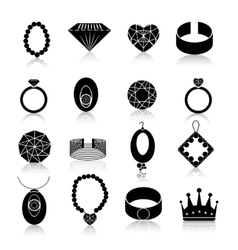 Jewelry icon set black vector image vector image