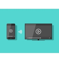 Mobile phone connected to tv streaming video vector