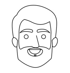 Monochrome contour of smiling man face with hair vector