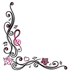 music notes clef and flowers vector image vector image