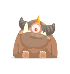 One-eyed horny brown monster in party hat vector
