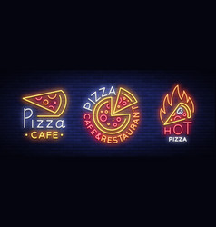 pizza collection of neon signs set neon logos vector image
