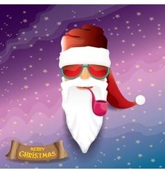 Rock n roll cartoon funky santa claus icon vector