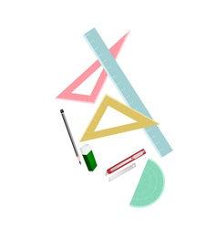 Rulers and Protactor with Pencil and Eraser vector image