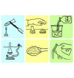 Rules of behavior in chemical laboratory vector