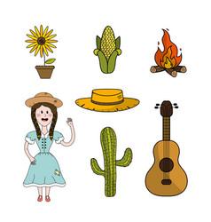 Set brazilian things to celebrate festa junina vector