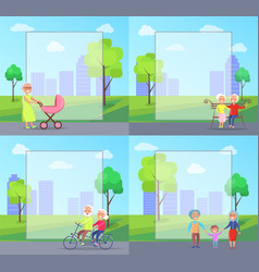 set of with grandparents and kids vector image