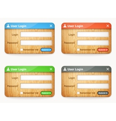 set of wooden login forms vector image vector image