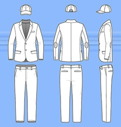 Simple outline drawing of a blazer pants and cap vector