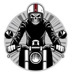 skull ride a motorbike vector image vector image