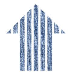 Stripe arrow up fabric textured icon vector