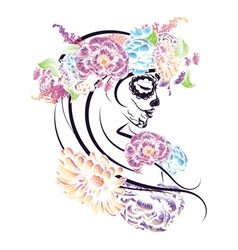 Sugar skull girl in flower crown4 vector