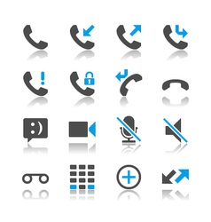 Telephone icons reflection vector image vector image