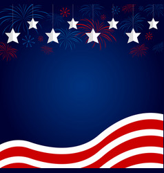 usa flag with fireworks design on blue background vector image vector image