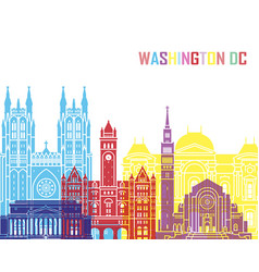 washington dc v2 skyline pop vector image vector image