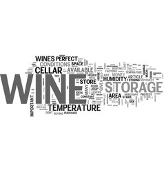 Wine storage hints and tips text word cloud vector