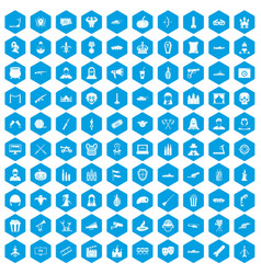 100 film icons set blue vector