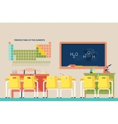 Lesson of chemistry at school classroom vector