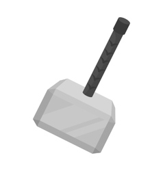 Viking battle hammer icon in monochrome style vector