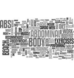 Beach body abs text word cloud concept vector