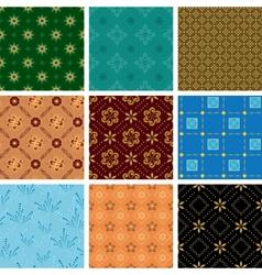 set of various seamless geometric pattern vector image