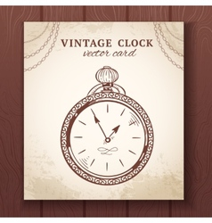 Old vintage pocket watch card vector