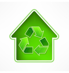 House with recycling symbol vector image