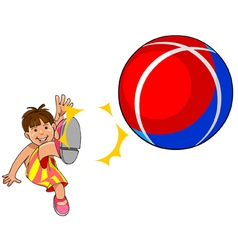 Baby kicks the ball vector