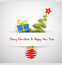 Simple christmas card with gift tree and bauble vector
