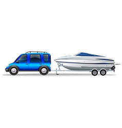A van and a boat vector