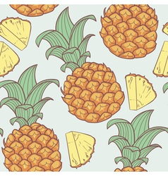 Pineapple with slice seamless pattern vector