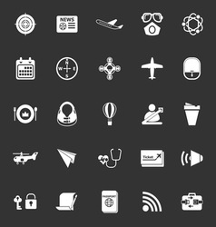 Air transport related icons on gray background vector