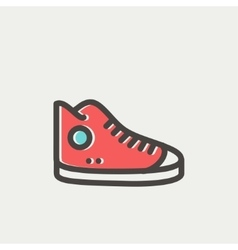 High cut rubber shoes thin line icon vector
