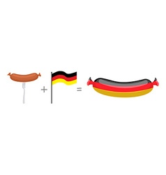 Sausage and german flag made in germany vector
