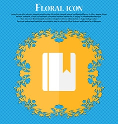 Book bookmark floral flat design on a blue vector