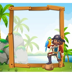 Border design with parrot and pirate vector