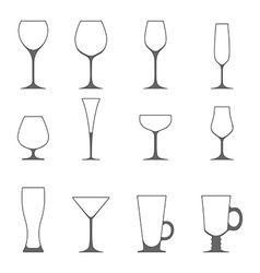 Icon set of utensil wine beer martini whiskey vector