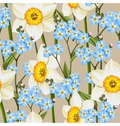Forget me not and daffodil seamless vector image