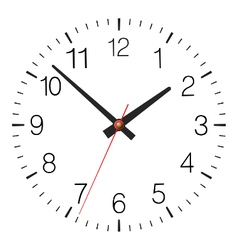 Simple classic clock placed on white vector
